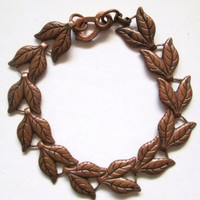 Vintage Solid Copper Bracelet Leaf Chain Design 8 Inch Size
