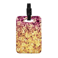 "Ebi Emporium ""Flower Power in Yellow"" Orange Glitter Decorative Luggage Tag"