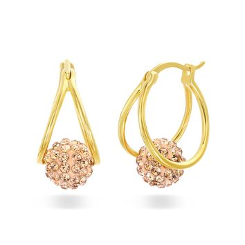 Crystal Ball Hoop Earrings for Women Made With Swarovski Crystals in Yellow Gold Plated 925 Sterling Silver (Color Pink)