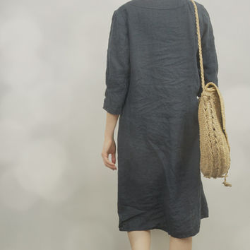 Navy Blue Linen Tunic Dress