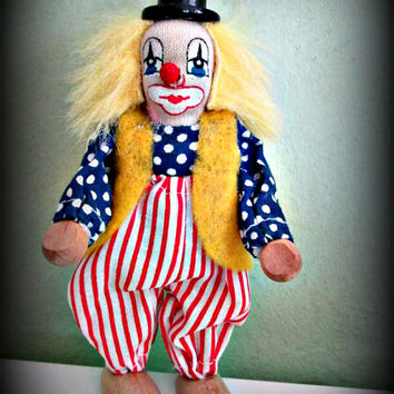 Vintage Collectible Clown Doll, Blonde Hair, Hand Painted Face, Home Decor, Folk Art