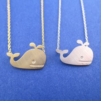 Classic Happy Whale Silhouette Pendant Necklace in Gold or Silver