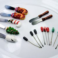 Lot Christmas Kitchenware Holiday Utensils Spreaders Skewers Thanksgiving Vintage Collectible Gift Item 997