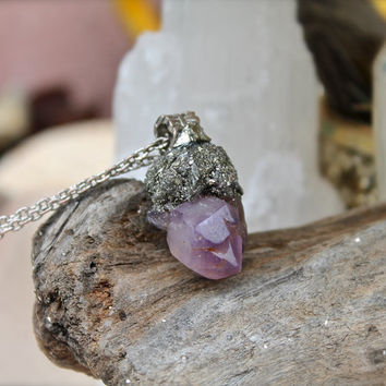 Raw Amethyst Necklace - Crushed Pyrite Jewelry - Natural Amethyst Jewelry - Rough Stone Necklace - Wiccan - Boho Jewelry - Gypsy Necklace