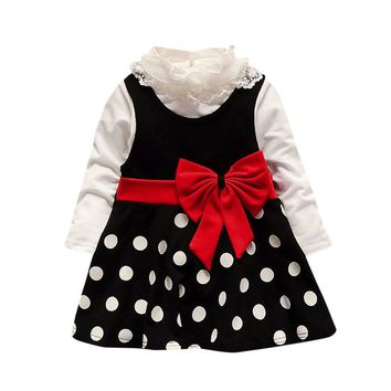 6-24M Girls Polka Dot Bow Dress with Lace Undershirt