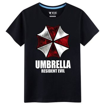 2017 New Arrival T-shirts for Men Umbrella 100% Cotton Resident Evil Spring&Summer Wear Fashion Tshirts