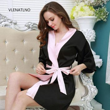 CREYIJ6 Sexy Large Size Sexy Satin Night Robe Lace Bathrobe Perfect Wedding Bride Bridesmaid Robes Dressing Gown For Women