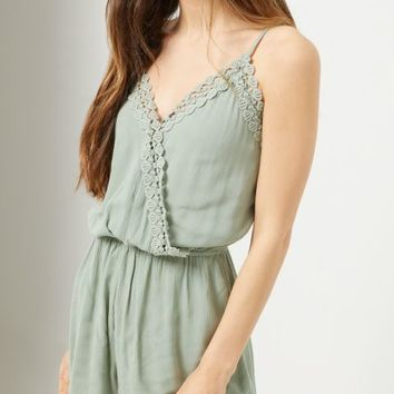 Light Green Crochet Trimmed Sleeveless Romper