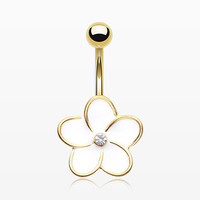 Golden Plumeria Belly Button Ring