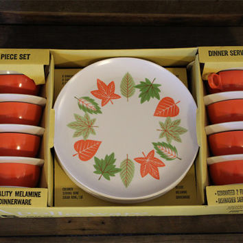 Vintage Melmac Dishes- Apollo Ware- Melamine- 45 Piece Set- Vintage New In Box- Leaves- Orange- White- Plates- Bowls- Serving- Dinnerware