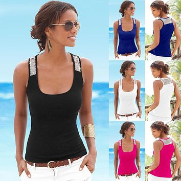 Womens Summer Sexy Camisole Low-cut Basic T-shirt Tank Top
