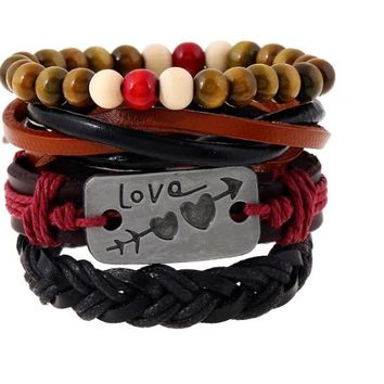 Wrap Strand Women Anchor Genuine Leather Bracelets
