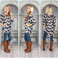 The Duchess Tunic Navy and Taupe