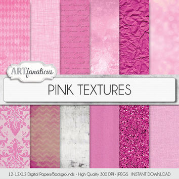 "Pink digital paper ""PINK TEXTURES"" shabby chic pink textures with pink glitter, pink crumpled paper, pink damask, bokeh, grungy backgrounds"