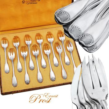 Prost: French Sterling Silver 12pc Dessert Fork Set - Shell pattern