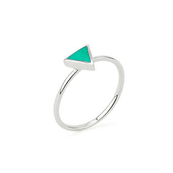 Triangle Aqua Green Geometric Shape Delicate Ring in Silver 925