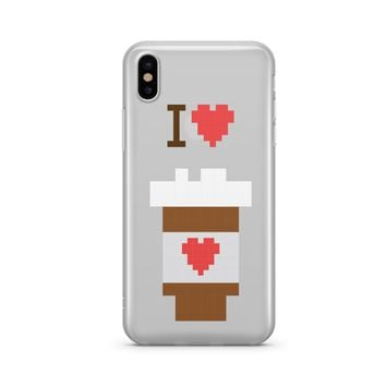 I Love Coffee 8-Bit Pixel - Clear TPU Case Cover Phone Case