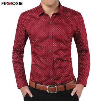 New Brand Men Fashion Polka Dot Long Sleeve Shirt,Slim Fit Mens Spring Autumn Casual Dress Shirts,Chemise Homme Plus Size M-5XL