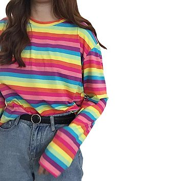 Harajuku Women Casual Rainbow Stripe T Shirt For Girls Autumn Female Shirt Long Sleeved Ladies T-shirts Woman Tops Feminine