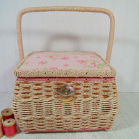 Large Square Pink Floral Fabric & Natural Wicker Sewing Basket - Vintage Wooden Crafters Case - Pink Floral Cotton Deep Artisan Tote Chest