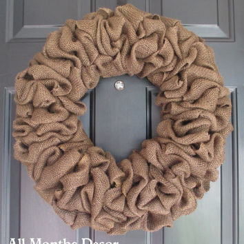 Plain Burlap Wreath, Various Colors Available, Natural Rustic Country, Spring Summer Fall Winter, DIY Year Round, Porch Door Decor