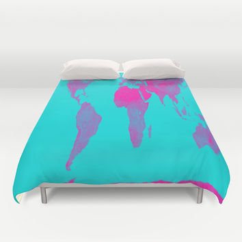 Turquoise & Hot Pink Gall Peters Map Duvet Cover by 2sweet4words Designs