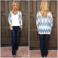 Chisel Knit Blue Cardigan