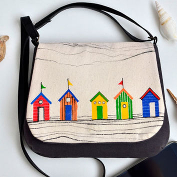 Hand painted summer crossbody bag with rainbow beach huts, Small shoulder bag, Handmade summer cotton canvas colorful purse, Made to order