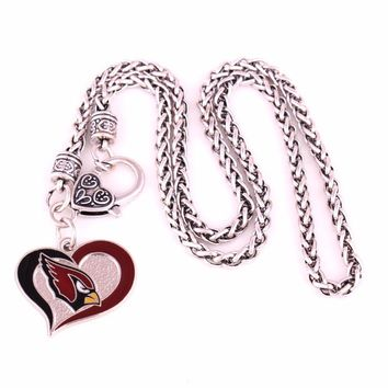 Fans collection enamel single-sided Arizona Cardinals Swirl Heart Football team logo charm with wheat link chain sport Necklace