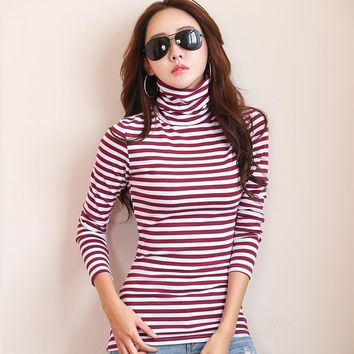 New 2017 T-shirts For Women Turtleneck Long Sleeve T Shirt Striped Cotton Bottoming Shirt Poleras Mujer Winter Tops Tees