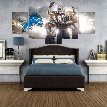 5 Pcs Rugby ball Logo Paintings Detroit Lions Modern Home Decor Living Room Bedroom Wall Art Canvas Print Painting Calligraphy