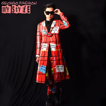 Red cloak long jacket male costume cool bar dancer singer dress nightclub clothing Outdoors Slim wear performance show star