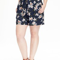 """Old Navy Womens Plus Floral High Rise Shorts 5"""""""