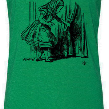 Alice in Wonderland - Looking for The Door (Black) Tri-Blend Racerback Tank-Top