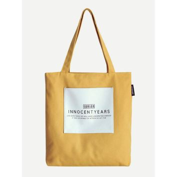 Patch Decor Letter Print Tote Bag