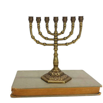 Brass Menorah Candelabra Candle Stick Holder Hanukkah Hebrew Lamp Stand Judaism 7 Arm Branch Religious Decor