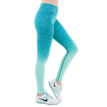 Good Quality Full Length Ombre Athletic Workout Fitness Leggings for Women
