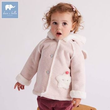 DB5490 dave bella autumn winter infant baby girls fashion Jackets toddler Hooded outerwear children cute hight quality clothes