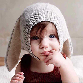 Superior Toddler Kids Boy Girl Knitted Crochet Rabbit Ear Beanie Winter Warm Hat Cap Sep 12