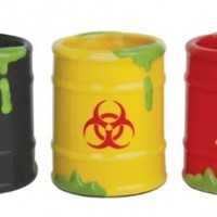 BigMouth Inc Toxic Waste Barrels 3-Pack Shot Glass, Assorted Set