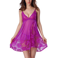 2016 New Women Sexy Spaghetti Strap Lace Patchwork Lingerie Dress Sleepwear Female Mesh Sleepshirts Nightgowns With G-string