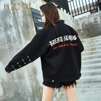 Trendy Denim Jacket Hole Pin Gothic Letter Embroidery Print Coat Black Single Breasted Bomber Women  Brand Hip Hop Punk Rock Kanye West AT_94_13