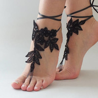 Gothic Black Lace sandals for wedding, Foot Jewelry bridal sandals, wedding sandal, Embroidered anklet, sandles for wedding, Beach sandles,