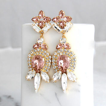 Blush Earrings, Bridal Blush Earrings, Morganite Earrings, Statement Earrings, Swarovski Long Earrings, Bridal Drop Dangle Earrings.