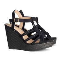 H&M - Wedge-heel Sandalettes - Black - Ladies