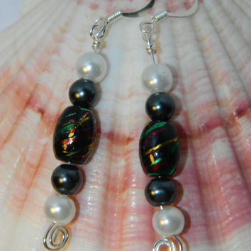 Unique black and white or black and gray faux pearl dangle bead earrings with silver plated wire spiral swirl