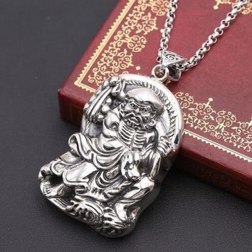 Real 925 Silver Silver Bodhidharma Pendant Vintage Sterling Silver Buddha Amulet