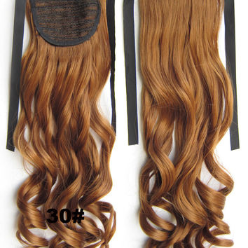 Curly synthetic hair extension,Ribbon ponytail synthetic hair extension Clip In on Hair Pony,Wavy Hairpiece,woman wigs,wig hairs,Accessories,Bath & Beauty RP-888 30#