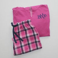 Monogrammed Pajama Set Pink and Navy Blue Plaid Flannel Pants with Comfort Color Raspberry Pink Hoodie Christmas Gift Set