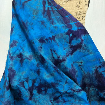Made in Kenya--African Tie Dye Fabric--African Batik Fabric--Turquoise Blue and Purple-African Fabric by the HALF YARD